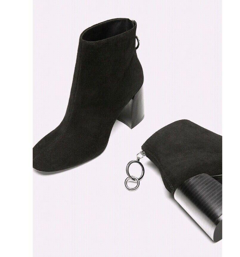 Zara Negro Real Cuero De Gamuza Tacón Alto botas al Tobillo Cremallera en la espalda, Bnwt
