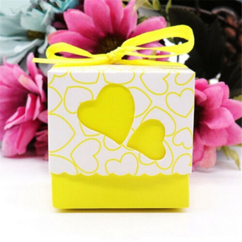 50PCS Mini Candy Paper Box Cookie Gift Boxes Hollow Heart Party Wedding Supplies