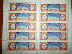 Russia-USSR-Stamps-Pane-of-20-Space-Astronauts-1st-Woman-Cosmonaut-1963