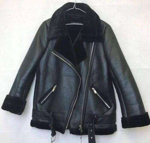 Ladies Womens Sheepskin Leather Shearling Aviator Biker Style Zip Buckle Jacket