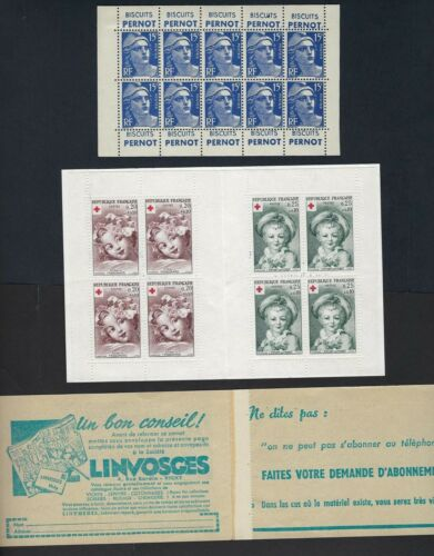 FRANCE 1951 BOOKLET PANE OF 10 PLUS COVER & 1961 BOOKLET PLUS COVER NEVER HINGED