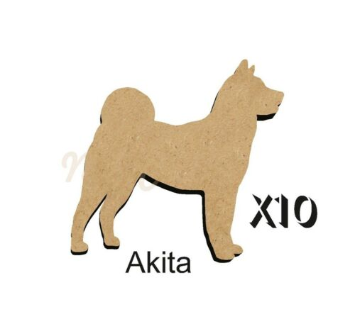 MDF Shape Dog 10  AKITA  MDF cutouts keyring 5 Sizes FREE Hole DOGW065
