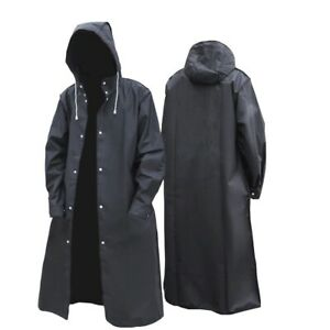 Adults Raincoat Waterproof Long Black Men Rain Coat Hooded Jacket Outdoor Hiking