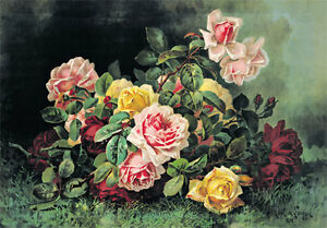 Pink and Yellow Roses by Paul de Longpre Art Print of Vintage Art