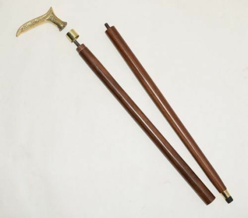 Solid Brass Handle walking Stick Style wooden Cane Wooden Walking stick
