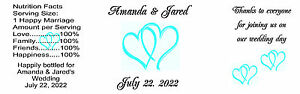 Wedding Water Bottle Labels Gloss 8 inch x 2.5 inch Blue Green Hearts 150 Qty.