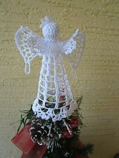 "VINTAGE CROCHET ANGEL CHRISTMAS TREE TOPPER/TABLE DECORATION 6"" TALL"