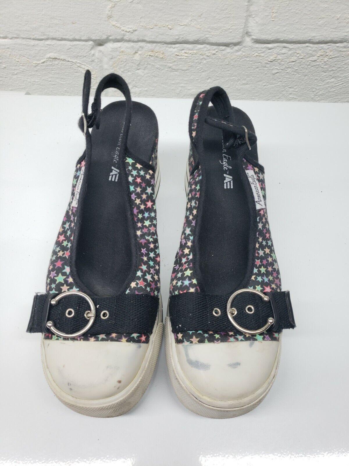 American Eagle Womens Comfort Round Toe Slingback Black Sandals Size 8.5 63071