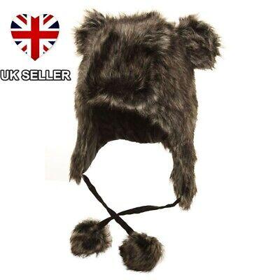 FAUX FUR PERUVIAN HAT WITH POM EARS TRAPPER WINTER SKI HAT LADIES UK SELLER