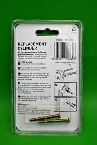 4Trade ERA Replacement Rim Cylinder Polished Brass with 3 Keys 802488