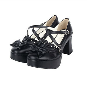 baec4bebedd6 Das Bild wird geladen Schwarz-Gothic-Goth-Lolita-Barock-Damen-Schuhe-Shoes-
