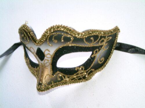 VENETIAN MASQUERADE HEN PARTY FANCY DRESS GLITTERY GOLD OR BLACK EYE MASKS