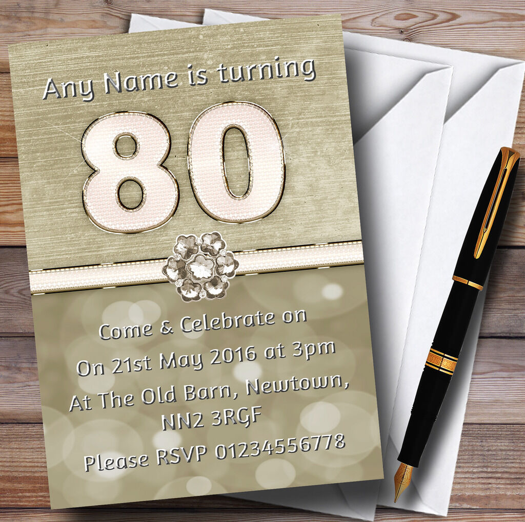 Titanium Gold And Party Weiss 80Th Personalised Birthday Invitations 05ed87