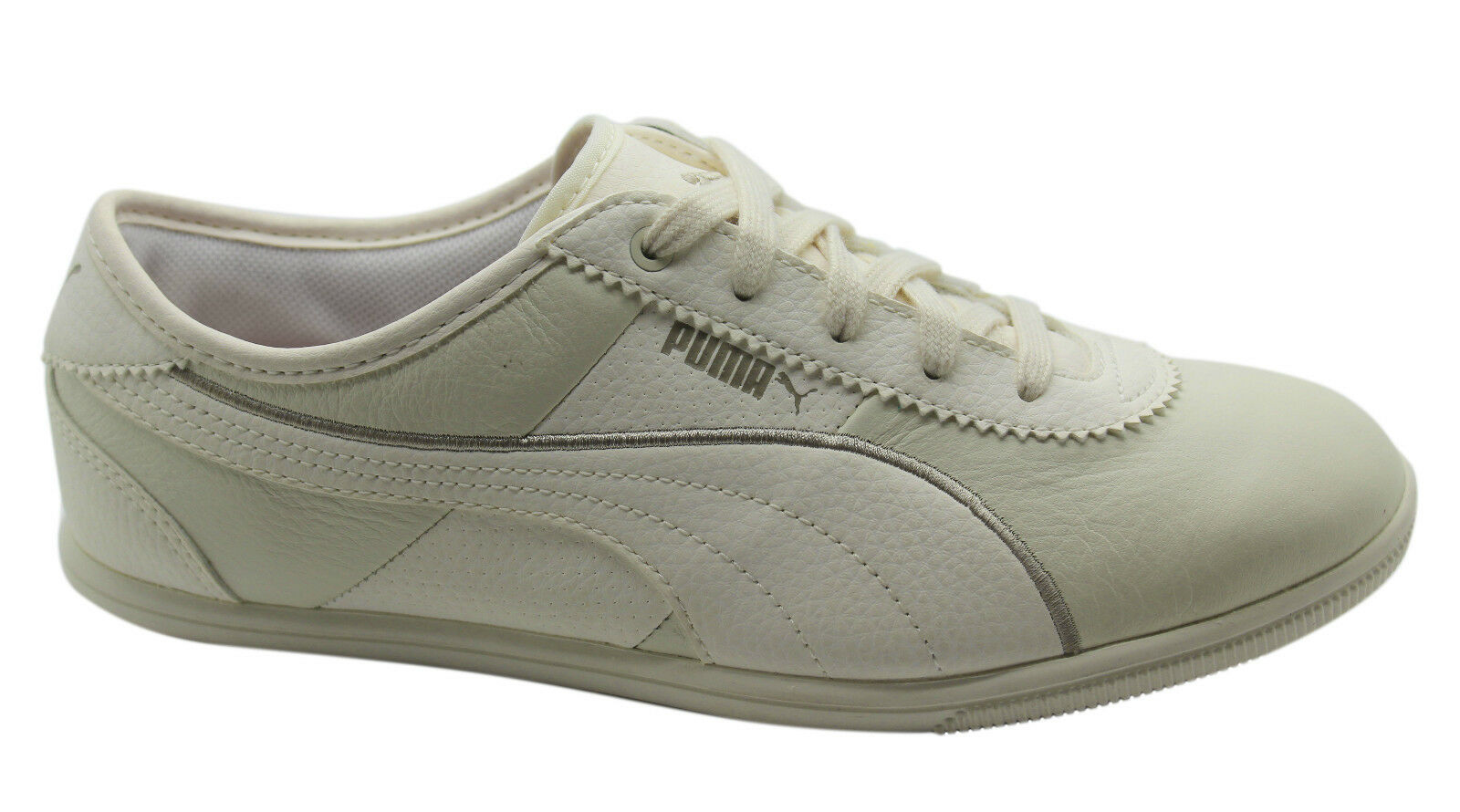 Puma Whitley Lux Damenschuhe Trainers Lace Niedrig Schuhes Cream Leder Lace Trainers Up 353948 01 D4 746fa9