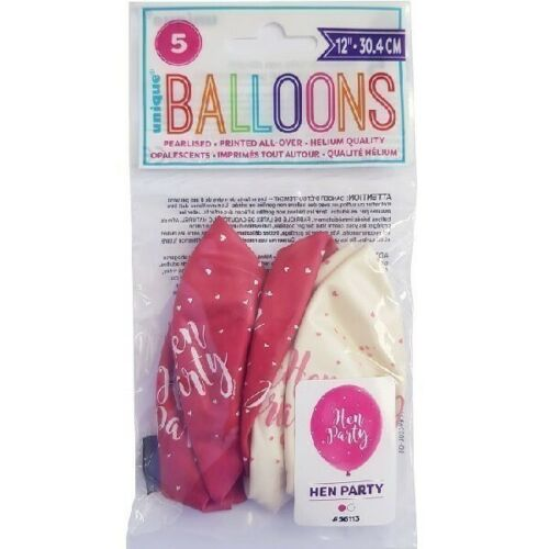 """5 x Hen Party 12/"""" Latex Balloons Helium Quality Pink Mix Ladies Night Decoration"""