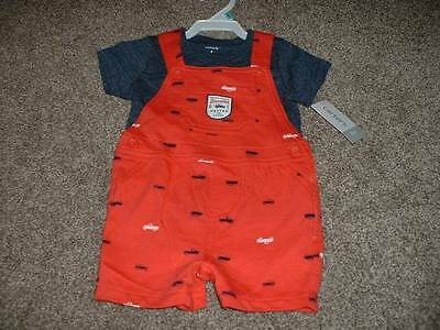 Carter's Baby Boys Speedster 2pc Shortall Outfit Set Size 6 Months 6M NWT NEW