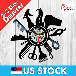 Image Is Loading Barber Clock Hairdresser Beauty Salon Art Vinyl