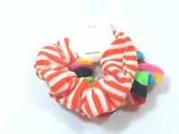 Rainbow Orange White Striped Terry Cloth Summer Scrunchie Set Duo 2pc Ouchless