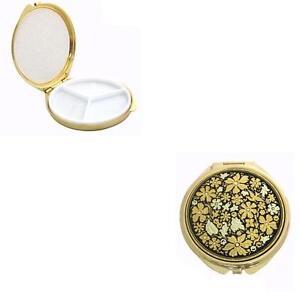 Damascene-Gold-Flower-amp-Dove-Design-Round-Pill-Box-by-Midas-Toledo-Spain-8503