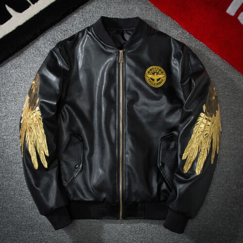 Autumn winter Mens Jacket Embroidery Gold Eagle Wings Bomber Jacket PU Outwear