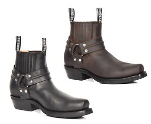179f43dd411 Details about Mens Leather Slip on Chelsea Boots Cowboy Style Square Toe  Ankle Shoes