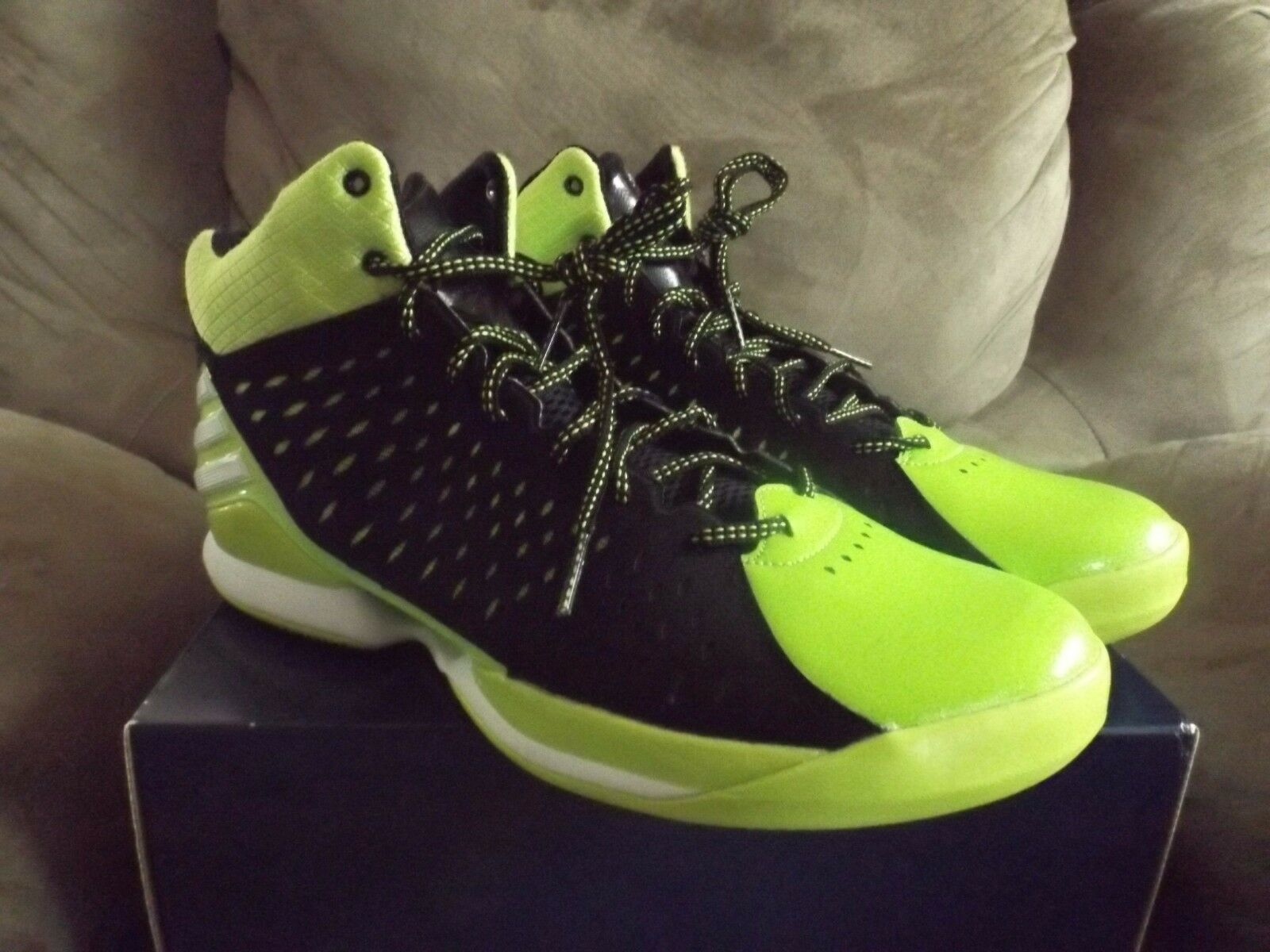 Adidas No Mercy 2014 Men's Basketball shoes Size 14 Black White Green D73661 NEW