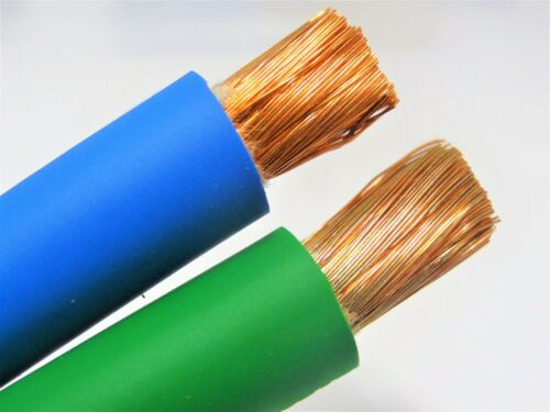 50/' 2//0 WELDING BATTERY CABLE 25/' GREEN 25/' BLUE 600V USA EPDM HEAVY DUTY COPPER