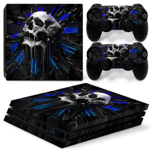 Skull clock For Sony playstation PS4 PRO Console Stickers & 2 Controllers Skin