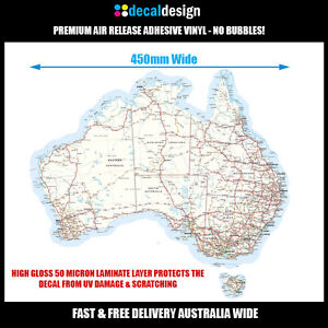 Australia-Map-Vinyl-Decal-Gloss-Laminated-UV-Protected-45cm-A021