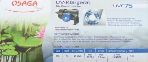 UVC Osaga 75 W UVC Lampe en Acier Inoxydable UVC klärgerät teichklärer