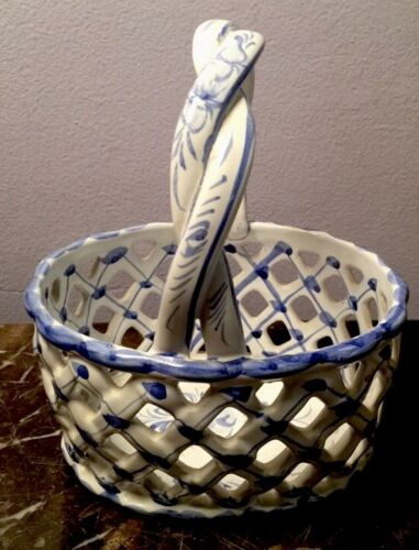 Portuguese Blue and White Vintage Ceramic Basket, Made in Portugal