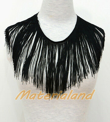 "18cm(7"") Black Professional Chainette Fringe Tassel Dance Dress making FA01Q"