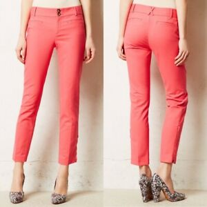 Anthropologie-Cartonnier-Women-039-s-Pink-Charlie-Ankle-Zip-Pants-Cropped-Size-0-EUC