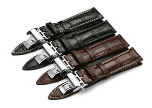 19mm 22mm genuine calf leather watch band deployant strap for longines watch ebay for Longines leather strap