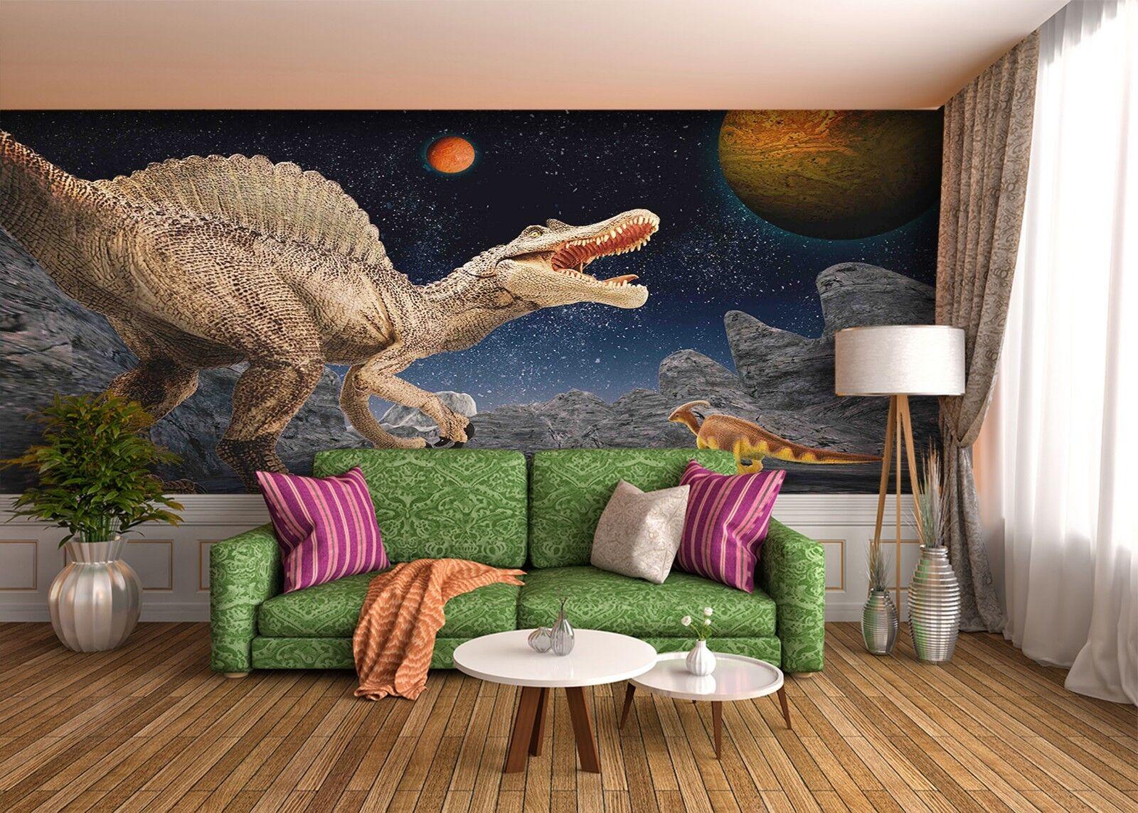 3D Weltraum Planet Dinosaurier 2 Tapete Wandgemälde Tapete Tapeten Familie Kinde