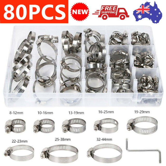 80X Stainless Steel Hose Clamps Clips Adjustable Range Worm Gear Pipe Clamp Kit
