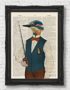Martin-pescador-pesca-pagina-de-Diccionario-Vintage-Regalo-Padres-Dia-de-impresion-de-arte-Arte