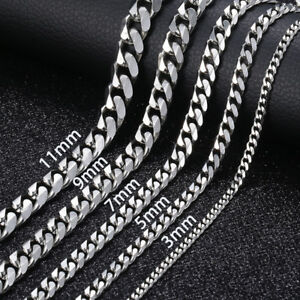 18-034-36-034-Stainless-Steel-Silver-Tone-Chain-Cuban-Curb-Mens-Necklace-3-5-7-9-11mm