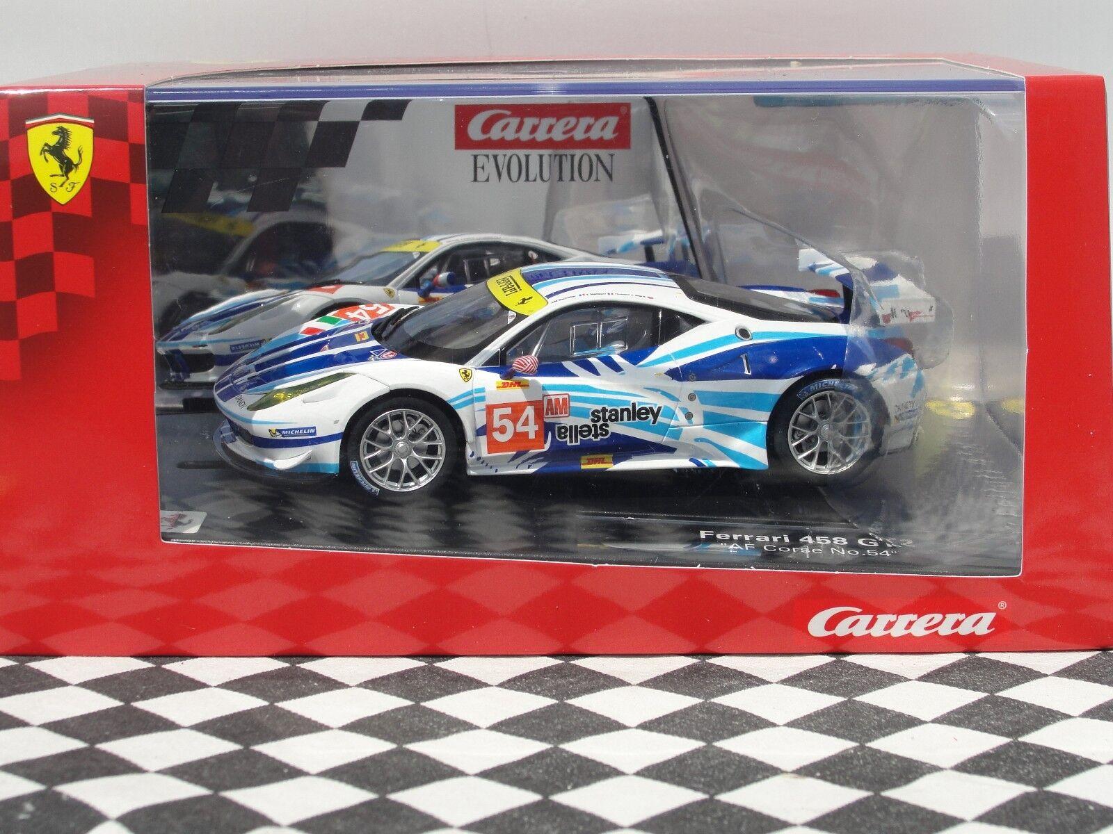 CARRERA EVOLUTION FERRARI 458 GT2 blueE WHITE SLOT BNIB