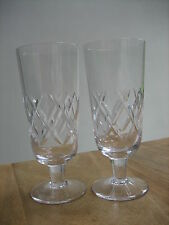 STUART CRYSTAL CARLINGFORD  BEER LAGER  ICED TEA GLASSES SIGNED x 2  EX.CON