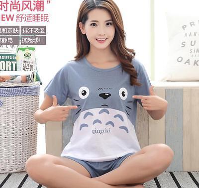 Cute Cartoon Girl Summer Short Sleeve Home Dress Nightwear Sleepwear Pajamas Set
