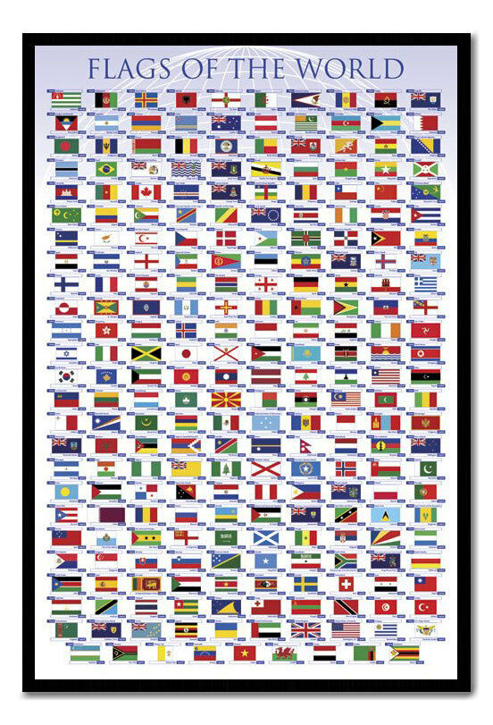 Framed Flags Of The World Magnetic Notice Board Board Board Including Magnets b9c8b2