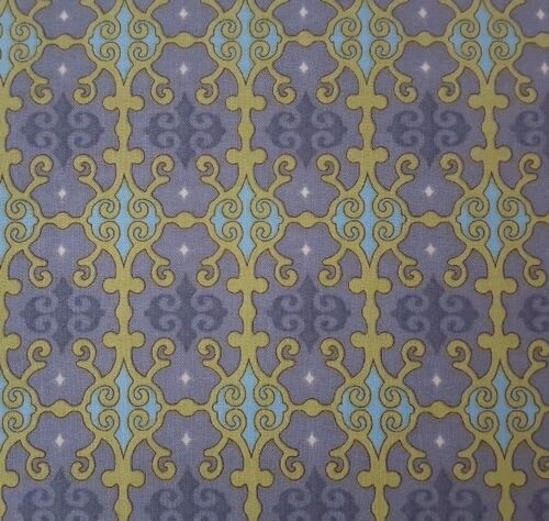 Abigail by BJ Lantz Quilting Treasures BTY Olive Green Gray Blue Damask Print