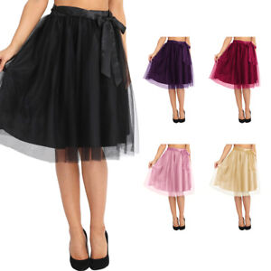 bb9d4f45327 Women s Tutu Tulle A line Skirts Short Prom Party Knee Length ...