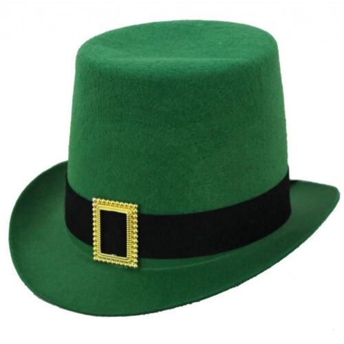 IRISH GREEN TOP HAT WITH BUCKLE ST PATRICKS DAY PARTY  FANCY DRESS ACCESSORY