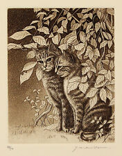 1984 | YACHIYO Naito | Cat Lover I | ETCHING | signed LIMITED ed of 50 | japan