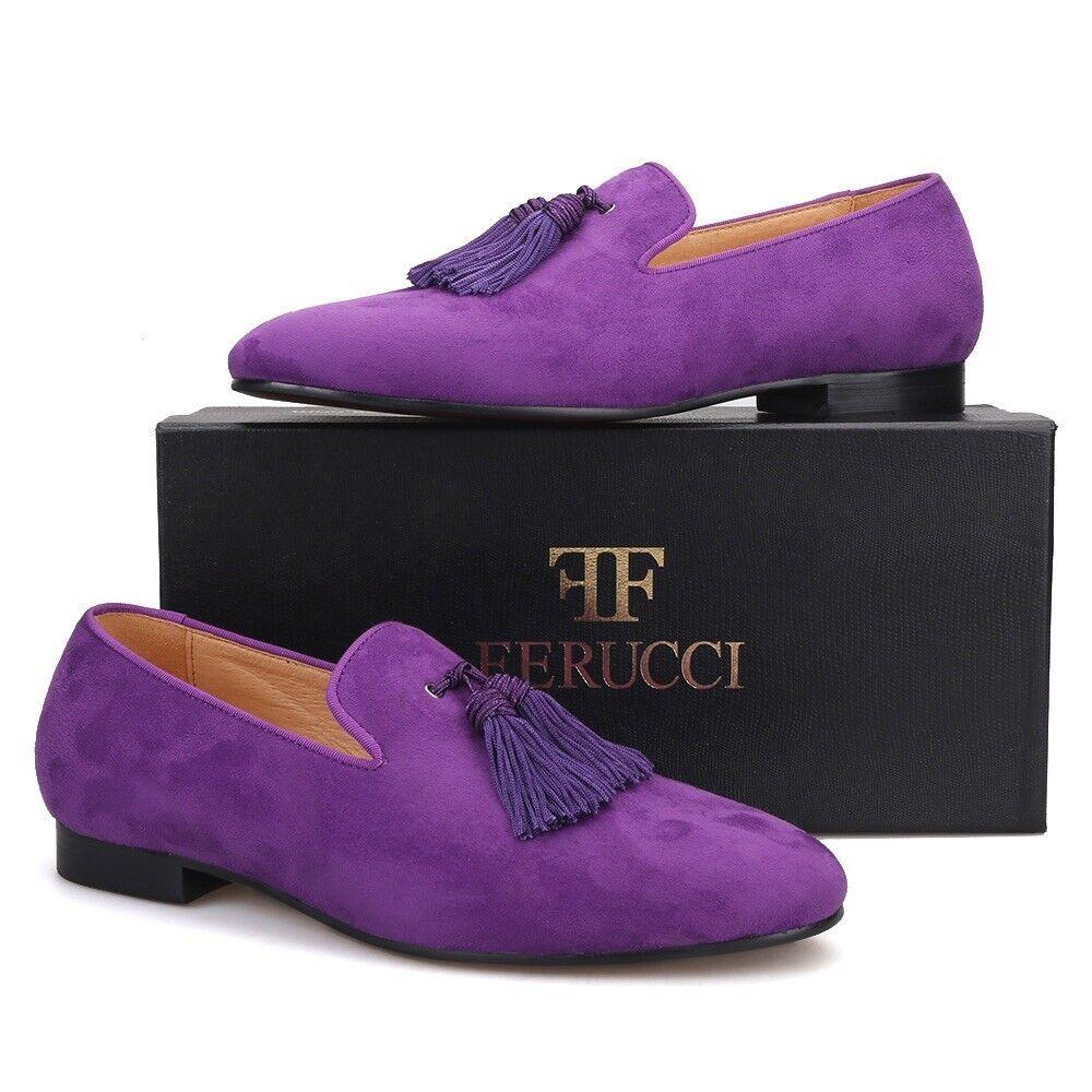 Zapatillas De Gamuza Para Hombre Púrpura Ferucci Mocasines Borla Plana con grandes púrpura