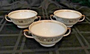 Vintage Imperial China Japan 3 Soup Bowls 2 Handles IMP73/32 Gold ...