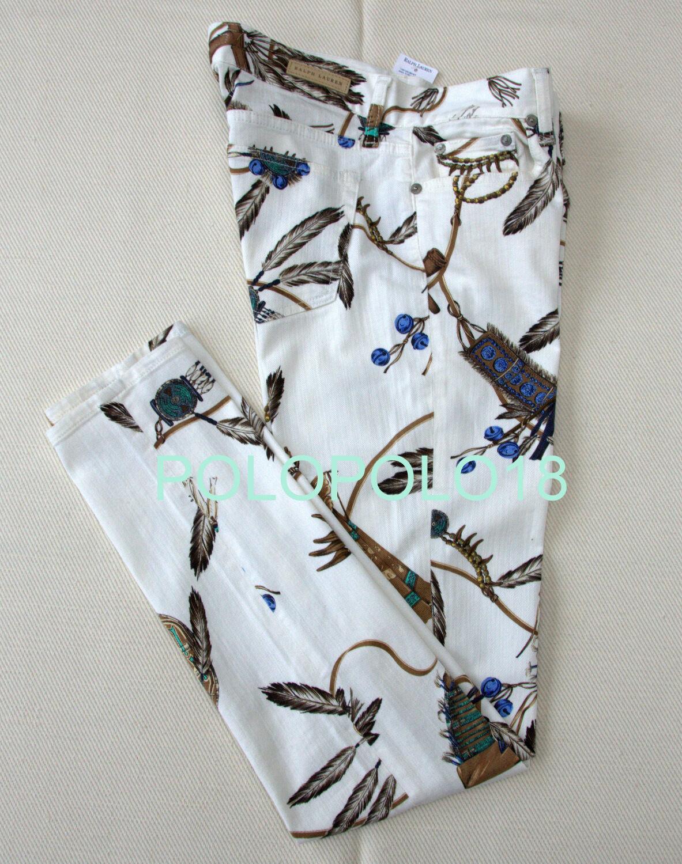 New  398 Ralph Lauren Women Skinny Jeans Slim Pants Ivory 25 29 30 32