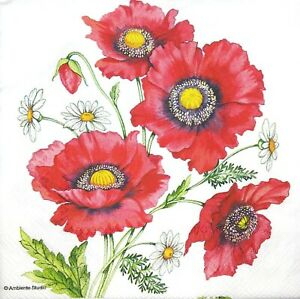 3 X Single Paper Napkins Decoupage Craft Tissue Red Poppies